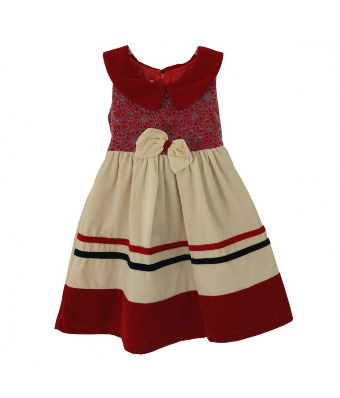 Rochita pentru fetite, 5 ani, 110 cm, model Nikita, stofa, rosu-crem