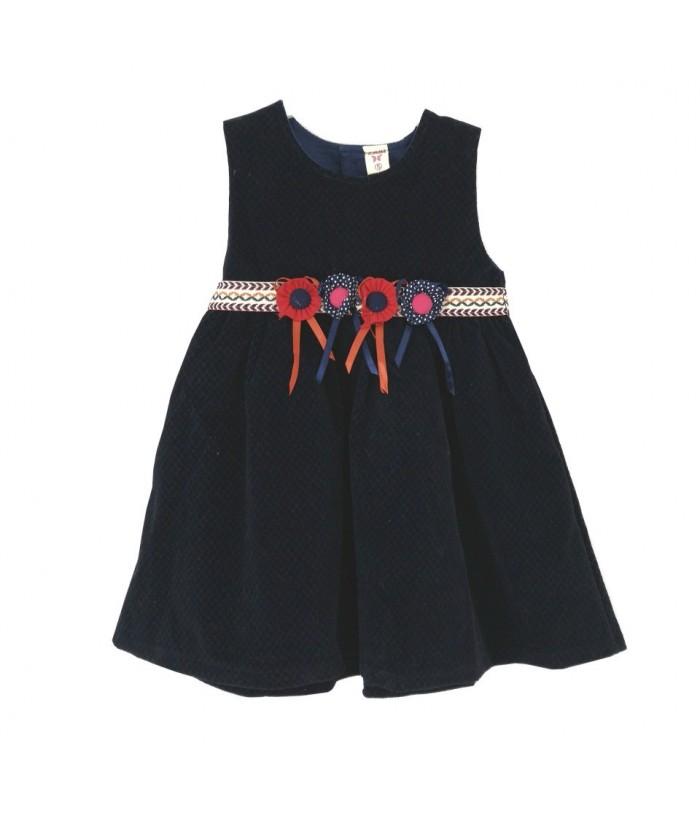 Rochie de zi pentru fetite, Laura, 3 ani, stofa bleumarin, 98 cm