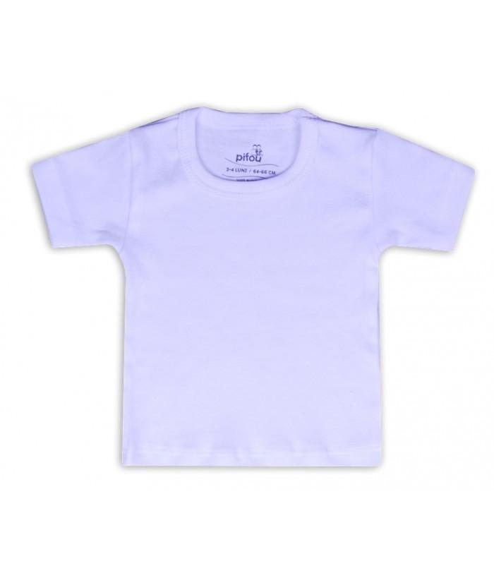 Tricou alb, maneca scurta, 3 luni - 4 ani, 62 - 104 cm