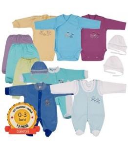 Set nou nascut format din 11 piese, baietel, 0-3 luni, Pifou