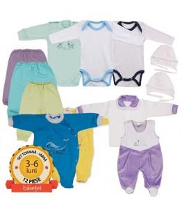 Set nou nascut format din 11 piese - baietel - (4-6 luni), 64-68 cm, Pifou
