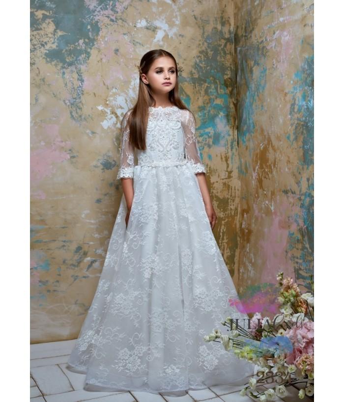 Rochie lunga de ocazie pentru fetite, Khadija, maneca dantela, 2-13 ani, 7653