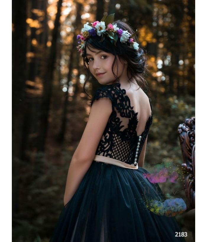 Rochie de ocazie fetite, Patricia, voal si dantela, 2-13 ani, 92-158 cm