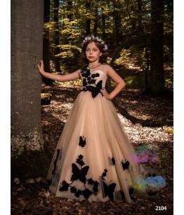 Rochie de ocazie pentru fetite Mina, tulle cu aplicatii florale si fluturasi, 4 -13 ani, 92-158 cm, 7703