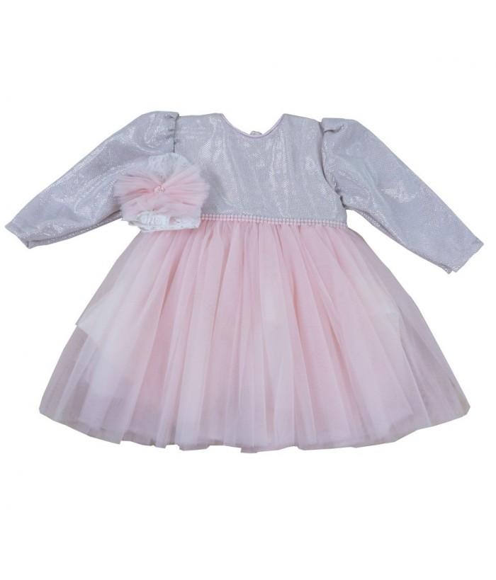 Rochita Arabella Silver, tulle, argintiu-roz, 1-2 ani, 80-92 cm