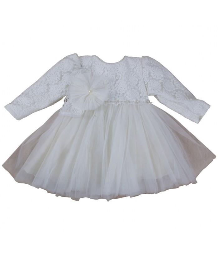 White dress, Amelia, long sleeves, 1 year, 80 cm