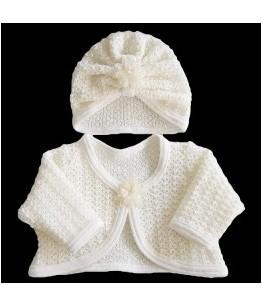 Set botez bolero si turban, 3-9 luni, tricot ivoire, 7765