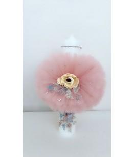 Lumanare Botez Carla, tulle roz