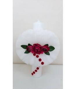 Lumanare Botez Violeta, tulle alb, aplicatii flori grena