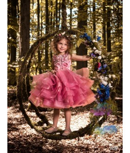 Rochie eleganta Rawnie, 2-13 ani, tulle, aplicatii florale