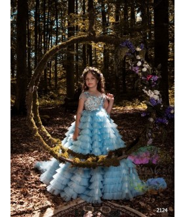 Rochita pentru fetite, Lydia, tulle si aplicatii florale, cu trena, 2-13 ani, 92-158 cm
