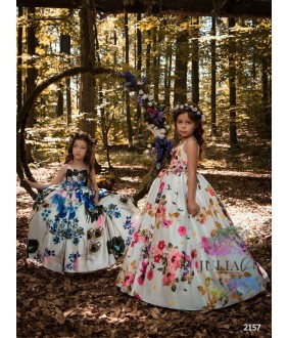Rochita ocazie pentru fetite, Amanda, satin, model floral, 2-13 ani, 92-158 cm