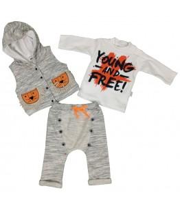 Compleu bebe, baiat, 6-9 luni, 68-74 cm, 3 piese, JuliaKids, 9499
