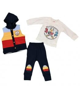 Compleu bebe, baiat, 9-18 luni, 74-86 cm, 3 piese, JuliaKids, 9501