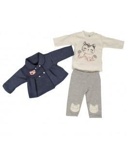Compleu bebe, fata, 6-9 luni, 68-74 cm, 3 piese, JuliaKids, 9511