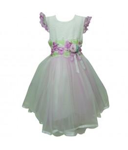 Rochita de fetita, ocazie, model Esperanza, tulle fin, cu aplicatii flori, 2-5 ani, 92-110 cm*