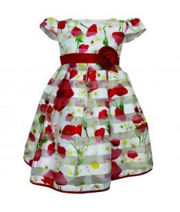 Rochita pentru fetite alba cu flori, tulle fin, 4-12 ani, 104 cm-152 cm