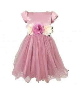 Rochie de printese roz-pudra, lungime medie, 3-14 ani, 98-164 cm