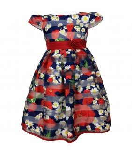 Rochita pentru fetite albastra cu flori rosii si albe, saten, 4-12 ani,  ani, 104 cm