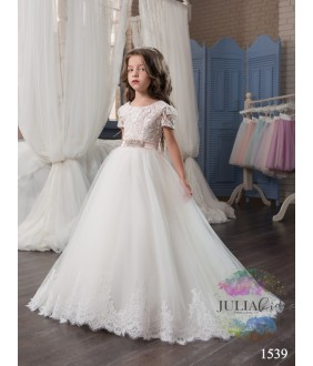 Rochie fata, 4-13 ani, trena lunga, ocazie, tulle si broderie