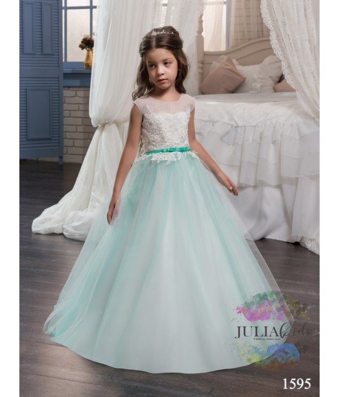 Rochie lunga fata, ocazie, 2-13 ani, tulle si broderie