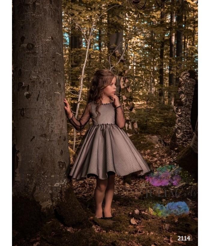 Rochita pentru fetite, Ana, tafta cu dantela, 2-13 ani, 92-158 cm, 9664