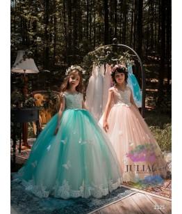 Rochita de nunta  pentru domnisoare de onoare cu aplicatii fluturi, 2-13 ani, 9672