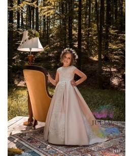 Rochita de domnisoara de onoare, tafta si broderie, roz pudra, 2-13 ani