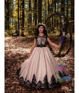 Rochita eleganta pentru fetite, tafta roz si broderie neagra, 2-13 ani
