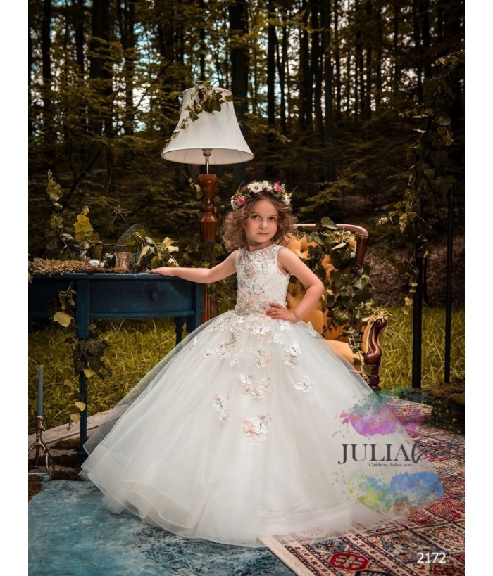 Rochie alba fete, lunga cu trena, 2-13 ani, 92-158 cm, tulle, JuliaKids, 9715