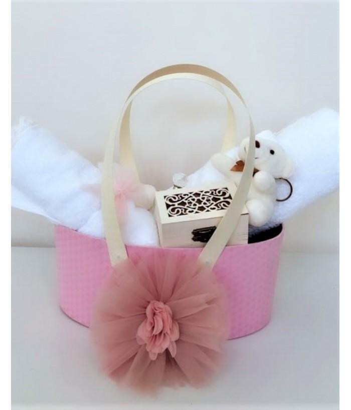 Trusou de botez pentru fete Elegance Pink, 9814