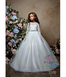 Rochie eleganta pentru fetite, Cataleya, lunga, tulle/broderie/dantela, 2-13 ani