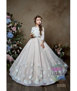 Rochie eleganta pentru fetite, Amelie, lunga, cu trena, tulle/broderie/dantela, 2-13 ani, 9854