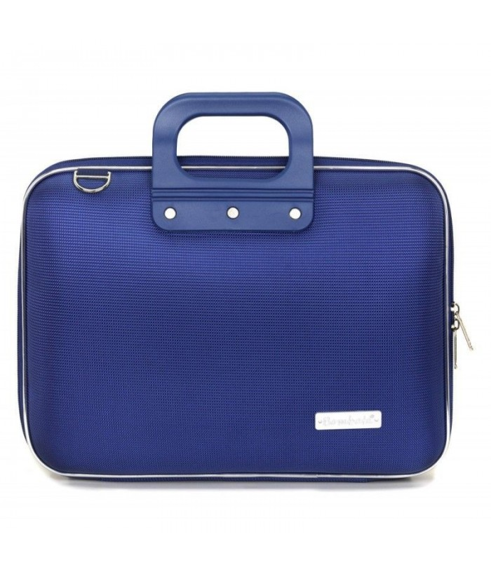 Geanta lux business laptop 13 in Nylon Bombata-Albastru cobalt