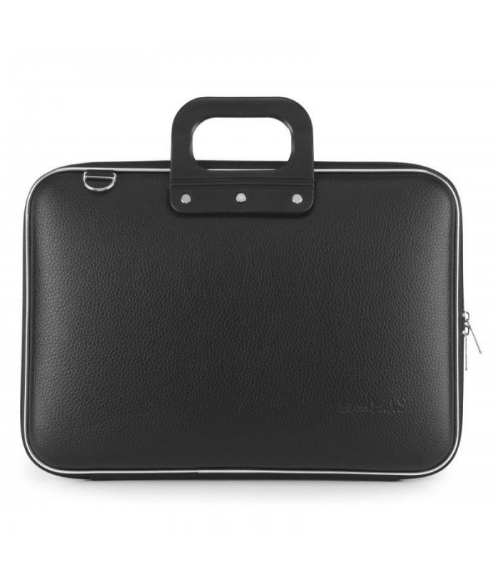 Geanta lux business laptop 15 in Clasic vinil Bombata-Negru