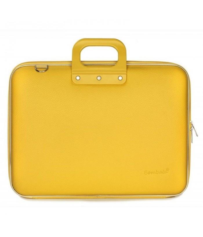 Geanta lux business laptop 17 in Maxi Bombata-Mustar