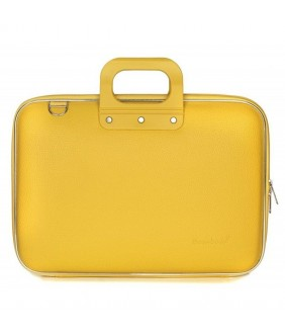 Geanta lux business laptop 15 in Clasic vinil Bombata-Mustar