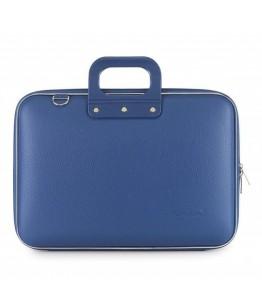 Geanta lux business laptop 15 in Clasic vinil Bombata-Albastru cobalt