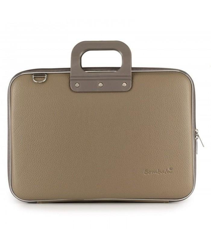 Geanta lux business laptop 15 in Clasic vinil Bombata-Grej