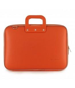 Geanta lux business laptop 15 in Clasic vinil Bombata-Portocaliu