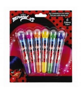Set 6 markere cu stampila LADYBUG MARINETTE