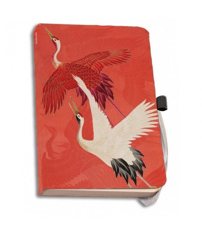 Agenda coperti textile A6 Woman haori with Red and White Cranes