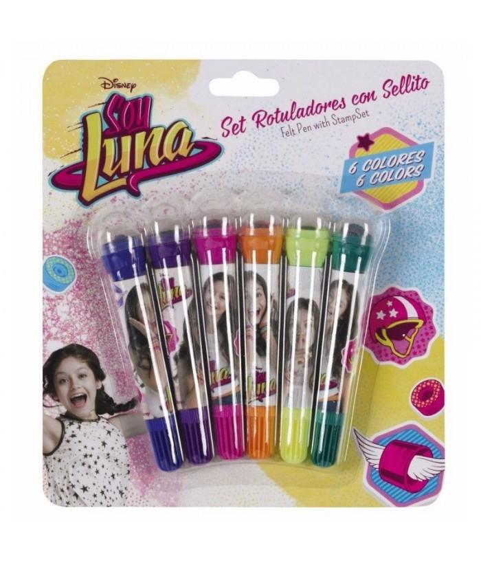 Set 6 markere Soy Luna cu stampila