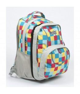 Ghiozdan ergonomic adolescenti cu patrate multicolore 2 in 1 (46 cm)