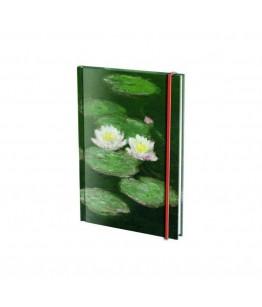 Agenda nedatata cu coperti tari si elastic A6 Waterlelies, Claude Monet