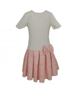 Rochita pentru fetite Alexandrina, crem/roz, 7-11 ani, 122-146 cm