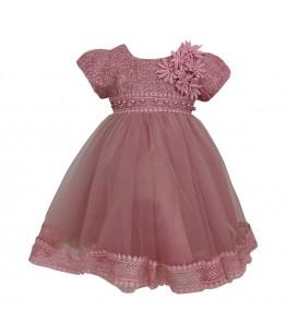 Rochita pentru fetita, roz pudra, tulle si broderie, flori 3D, 6-12 luni, 68-80 cm