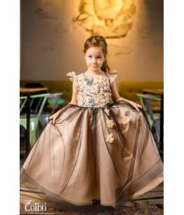 Rochita pentru fetita, Anna, lunga, ocazie, tafta bej, flori 3D, 2-12 ani, 92-152 cm