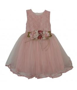 Rochita pentru fetite Alexia, roz, broderie, tulle, 1-5 ani, 86-110 cm