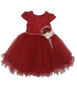 Rochita pentru fetite Andrada, rosie, broderie, tulle, paiete, 6-24 luni, 68-92 cm